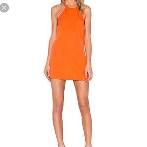 NBD Halter Shift Open T-Strap Back Dress Orange XS